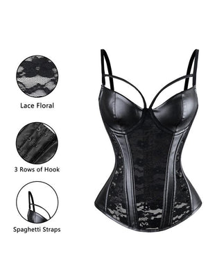 Steampunk Gothic Black Lace Corset Bustier Faux Leather Plus Size Bra Lingerie