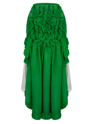 Retro Multi-layered Mesh and Ruffle Asymmetrical Cosplay Skirt Green/Blue