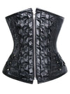Steampunk Style Steel Bone Artificial Leather Weave Jacquard Print Underbust Corset