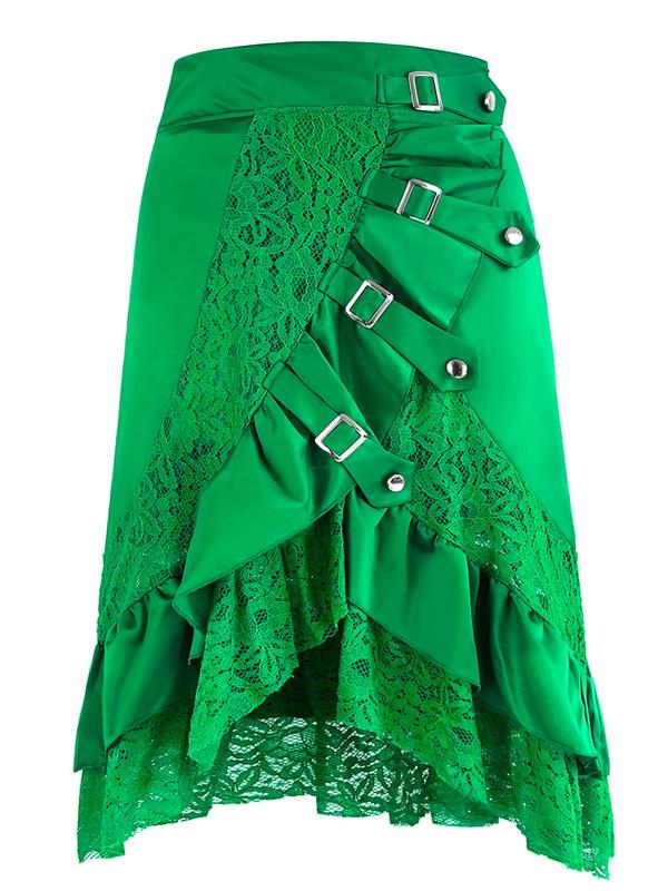 Women's Vintage Gothic Punk Green Asymmetry Lace Patchwork Slim Fit Skirt