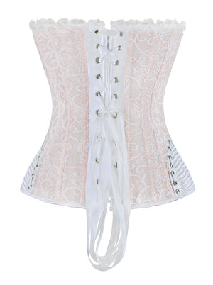 Elegant Sweetheart Satin Lace Ruffle Trim Overbust Corset Bustier Top with Zipper
