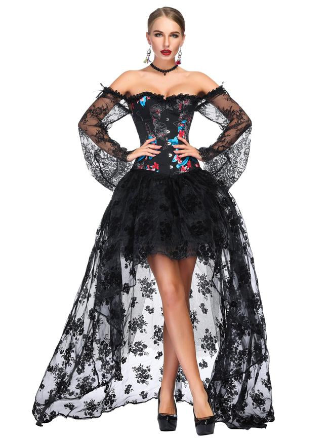 Victorian Gothic Black Floral Lace Overbust Corset with High Low Skirt Sets