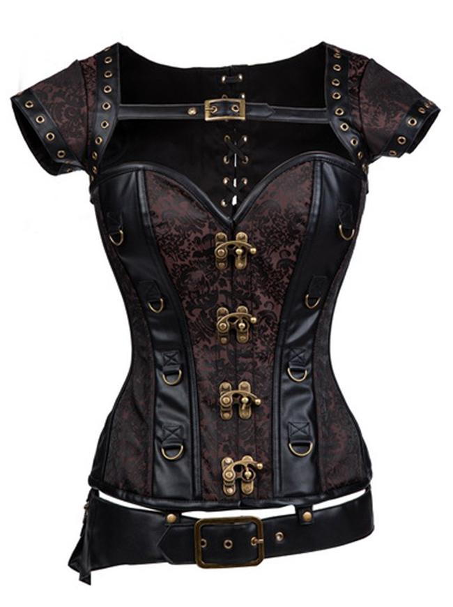 Steampunk Steel Boned  Retro Brocade Halloween  Corset with Jacket and Belt