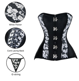 Women's Steampunk Retro Satin Floral Print Boned Overbust Corset Top