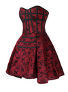 Women's Steampunk Gothic Rose Print Zipper Boned High Low Corset Dress