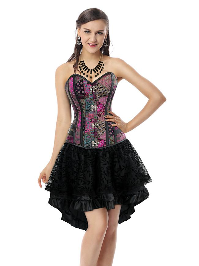 Women's Steampunk Gothic Steel Boned Bustier Corset and Ruffles Skirt