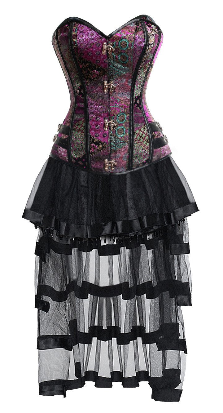 Women's Steampunk Gothic Retro Bustier Corset and High Low Skirt Set