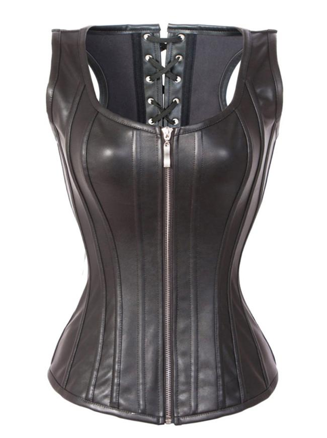 Steampunk Goth Spiral Steel Boned Faux Leather Overbust Corset Vest with Zipper