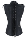 Men's Steampunk Black Spiral Steel Boned Gothic Stripe Waistcoat Vest with Chain