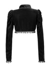 Medieval Gothic Black Velvet Stand Collar Long Sleeve Shrug Bolero with Pom-poms