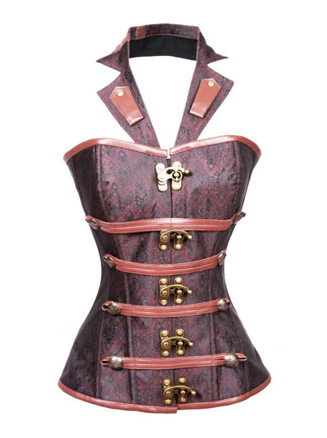 Steel Boned Halter Goth Vintage Steampunk Overbust Corset Top with Buckles