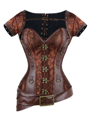 Steampunk  Spiral Steel Boned Brocade Corset Bustier with Jacket and Belt