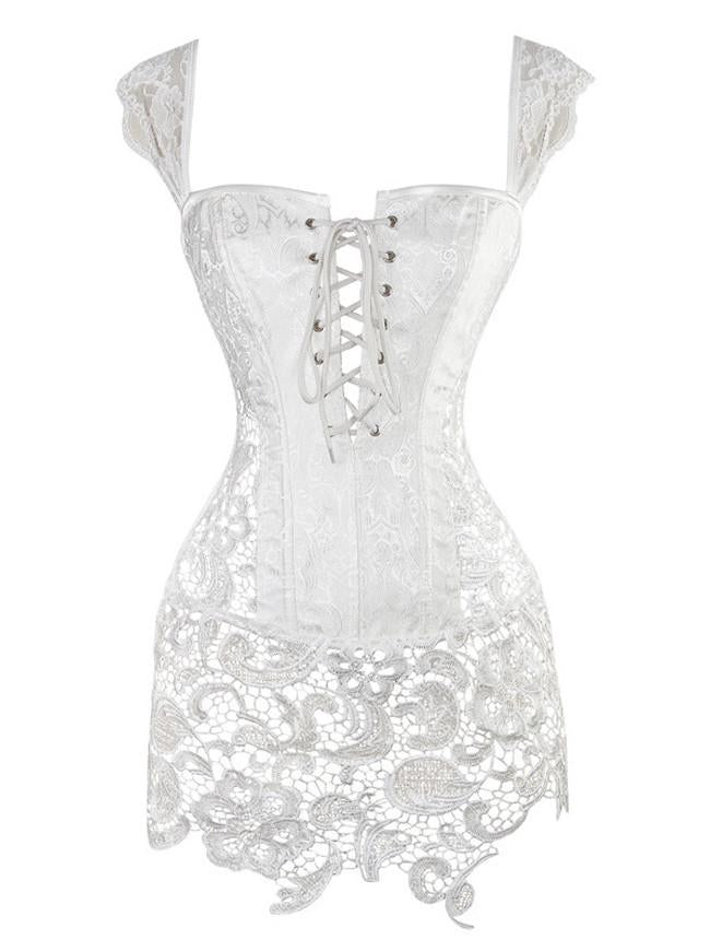 Women's Steampunk Gothic Jacquard Shoulder Strap Bustier White Corset with Lace Skirt