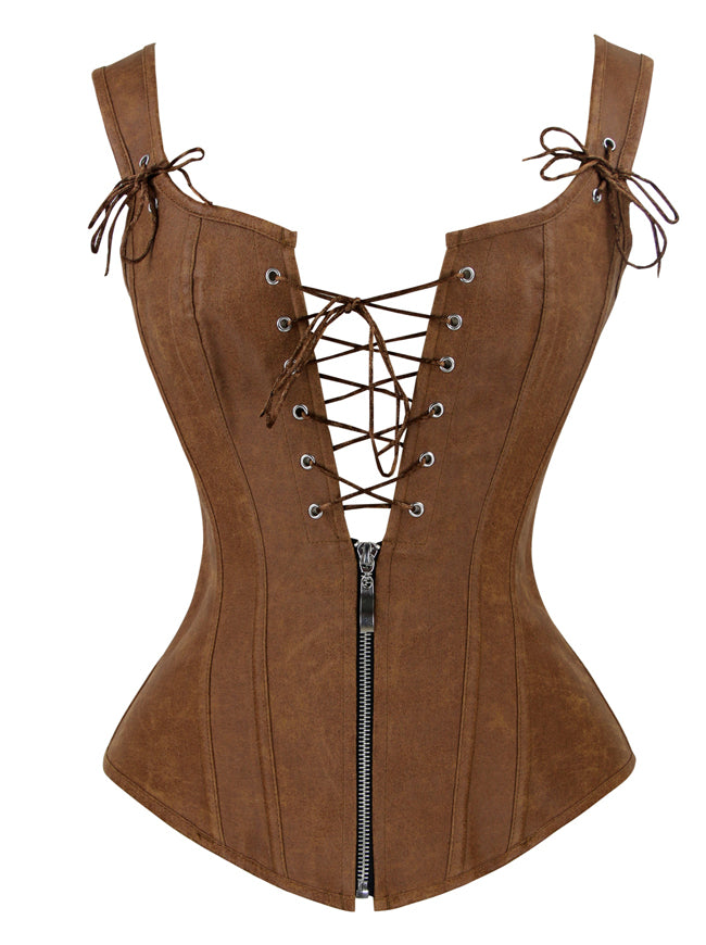 Steampunk Faux Front Lace Up and Zipper Vest Corset