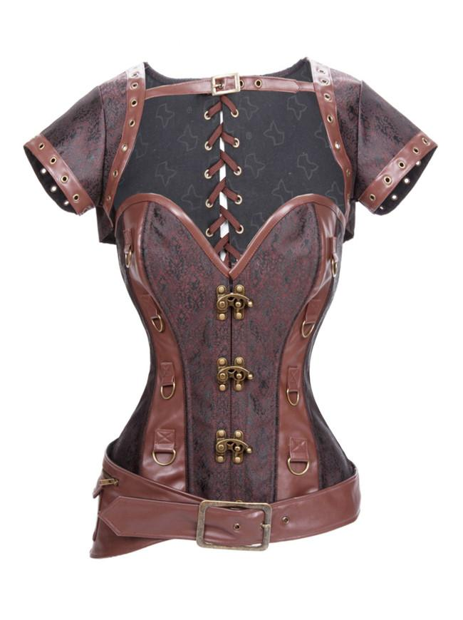 Steampunk Plus Size Spiral Steel Boned Brocade and Leather Corset with Jacket