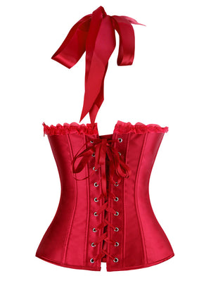 Burlesque Vintage Satin Halter Red Bustier Corset Top with Lace