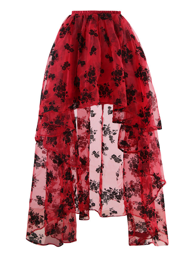 Women's Gothic Red Irregular Multi-layer Floral Print Organza High Low Elegant Flare Maxi Skirt