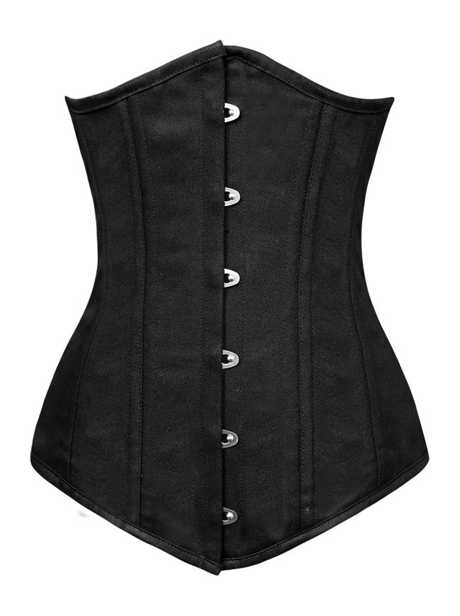 Long Line Cotton 26 Spiral Steel Bones Double Boned Underbust Long Torso Corset