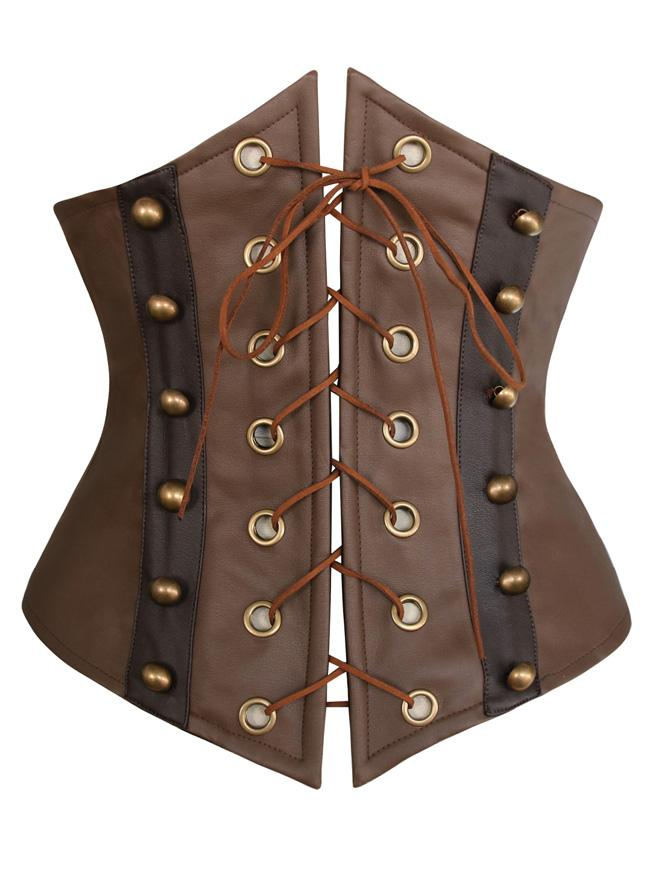 Women's Steampunk Retro Faux Leather Victorian Waist Training Underbust Corset