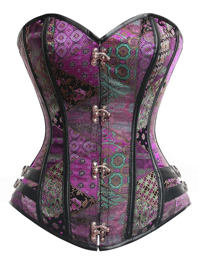 Spiral Steel Boned Steampunk Vintage Burlesque Purple Corset with Buckles
