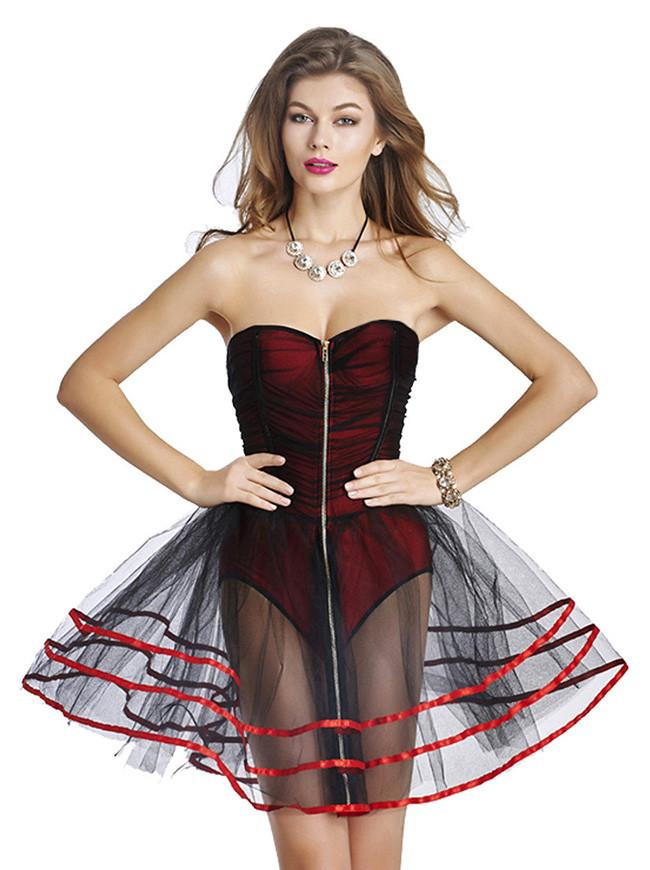 Women's A-Line Fashion Burlesque Zipper Romper Mesh Tutu Petticoat Dress