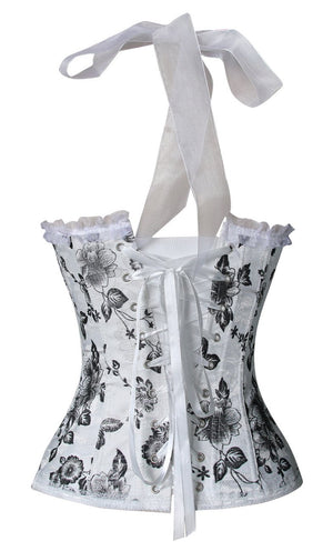 Women's Halter Floral Print Padded Sweetheart Neckline Wedding Corset