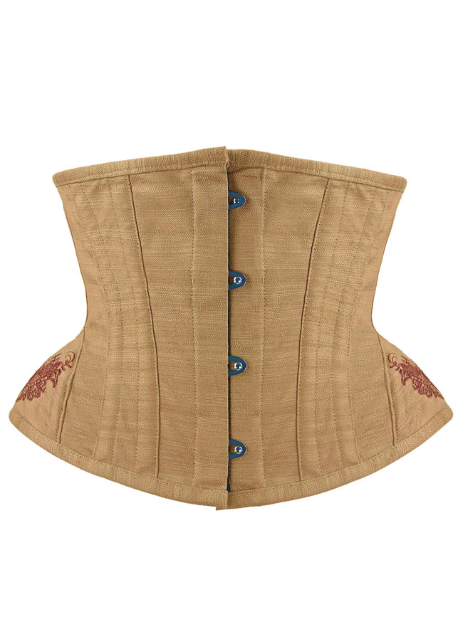 Vintage Steel Boned Cotton Embroidery Waist Cincher Underbust Corset