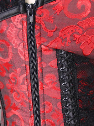 Women's Spiral Steel Boned Burlesque Sexy Brocade Lace Zipper Corset