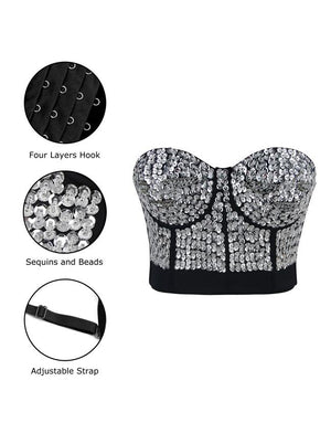 Silver Beaded Sequins Push Up Crop Top Bustier Bra
