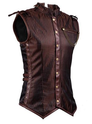 Men's Steampunk Brown Steel Boned Waistcoat Vest with Chain