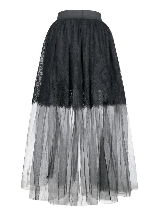 Victorian Gothic Multi-layered Sheer Mesh Outer Lace Lining Elastic High-waisted Long Skirt