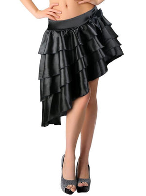 Women's Burlesque Satin Ruffles High-low Dancing Party Skirt