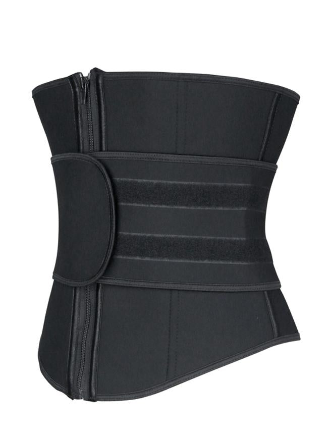 Unisex Black Neoprene Velcro Sports Waist Trimmer Body Shaper Belt