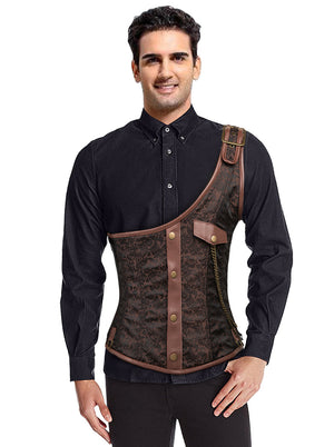 Men's One-Shoulder Leather Gothic Punk Waistcoat Corset Vest Top