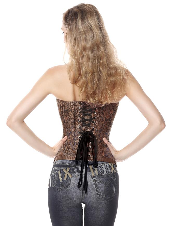 Brocade Stripe Boned Gothic Retro Overbust Plus Size Brown Corset with Zipper
