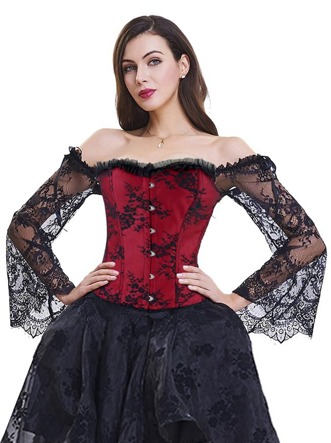 Gothic Off-Shoulder Overbust Lace Corset with Long Floral Sleeves /Red