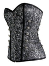 Steampunk Gothic Spiral Steel Boned Special Brocade Overbust Grey Corset with Chains
