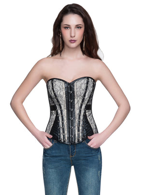 Plus Size Satin Lace Up Zipper Overbust Corset
