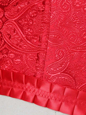 Women's Luxurious and Elegant Brocade Embroidered Red Overbust Corset