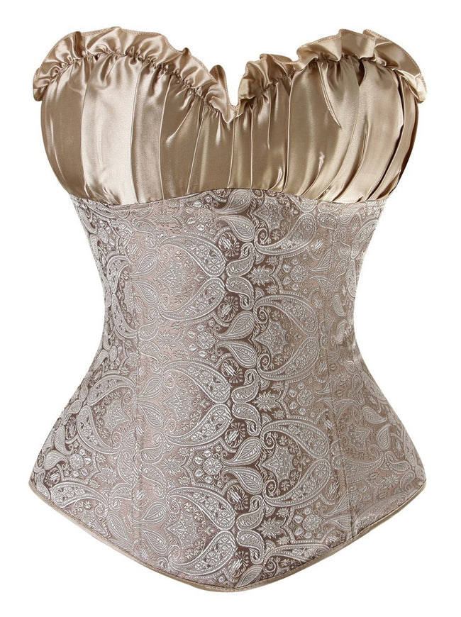Women's Renaissance Overbust Bustier Wedding Bridal Top Lace Up Corset