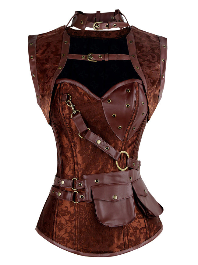 Steampunk Goth Steel Boned Brocade Bustiers Corset with Jacket and Belt