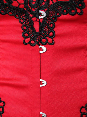 Gothic Floral Embroidery Mesh Princess Bustier Corset with Lace Skirt Red