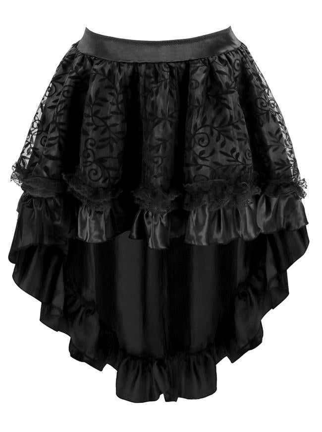 Women's Steampunk Gothic Vintage Satin High Low Skirt with Zipper
