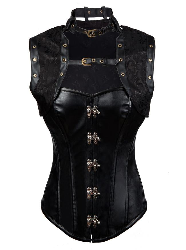 12 Spiral Steel Boned Gothic Faux Leather Steampunk Bustier Corset Top with Jacket