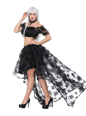 Women's Sexy Off Shoulder Ruffled Crop Top with High Waist Elastic High Low Black Skirt Sets
