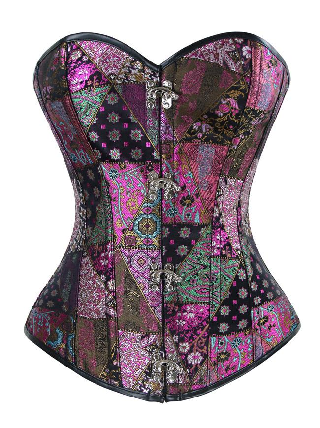 Women's Spiral Steel Boned Steampunk Retro Jacquard Corset Bustier Top