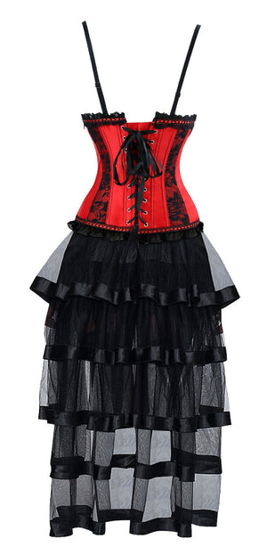 Women's Gothic Vintage Halter Boned Bustier Corset High Low Skirt Set