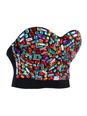 Women's Colorful Rhinestone Push Up Bra Clubwear Party Bustier Crop Top