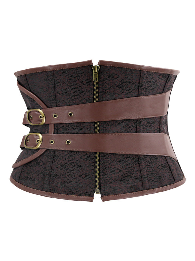 Women's Steampunk Gothic Brocade Short Torso Waspie Underbust Corset with Buckles