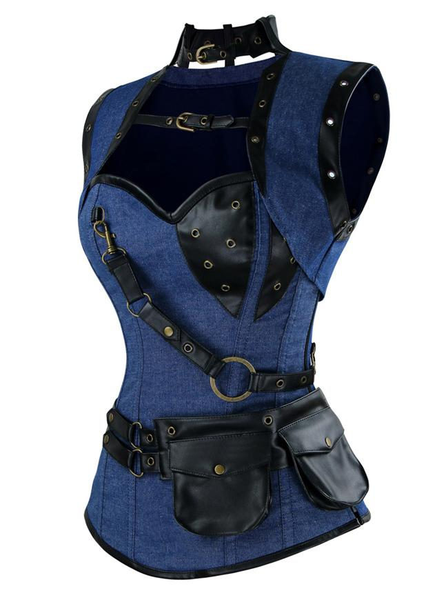 Women's Spiral Steel Boned Steampunk Gothic Denim Corset with Jacket and Belt